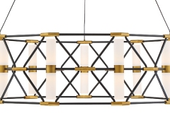 An architectural and elegant aesthetic in a two-tone black chassis with aged brass accents. Sleek acrylic cylinders deploy illumination among this erector set inspired luminaire. A stunning mix of industrial design, geometry and illuminance that will create a bold statement in foyers, lobbies and conference roomshttps://modernforms.com/product/labyrinth
