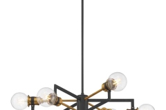 This warm brass and black chandelier reflects a mid-century modern style. This unique piece is perfect for globe or vintage style bulbs that are clear or frosted.https://www.satco.com/search/60-6976